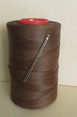 RITZA TIGRE WAXED HAND SEWING THREAD 1.0m FOR LEATHER/CANVAS & 2 NEEDLES HAVANA