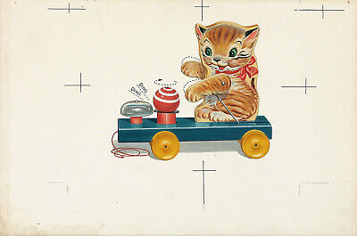 FISHER-PRICE XRare c1950 Orig Production Concept Art Painting #499 KITTY BELL