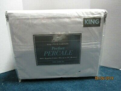Bed Bath & Beyond 400 Thread Count White Percale Sheet Set Size King