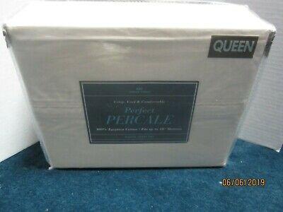 Bed Bath & Beyond 400 Thread Count Ivory Percale Sheet Set Size Queen