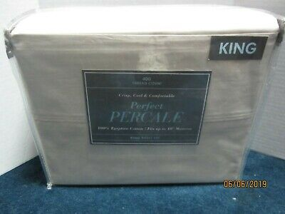Bed Bath & Beyond 400 Thread Count Beige Percale Sheet Set Size King