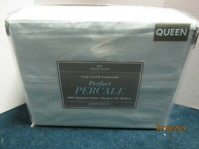 Bed Bath & Beyond 400 Thread Count Blue Percale Sheet Set Size Queen
