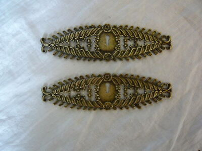 Pair of Antique Brass Ornate Escutcheon Plates