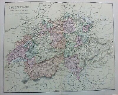 Antique Print C1870S Map Switzerland & Passes Of The Alps Map Of The World Atlas
