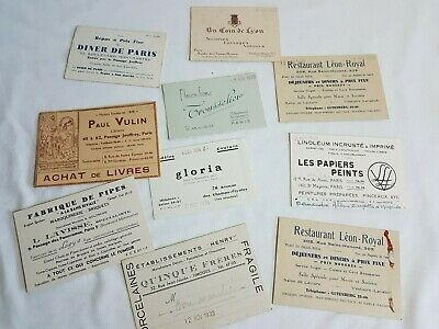 Lot de Cartes de visite de commerces Paris novembre 1939 Restaurant Artisan