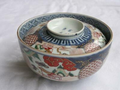 Antique Japanese Imari chawan with landscape 1770-90 handpainted #4319