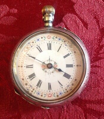 Antique Sterling Silver Hallmarked Ladies Pocket Watch Hand Paint Porcelain Face