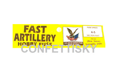 YELLOW 3mm hobby fuse FAST ARTILLERY wick 4 seconds per foot