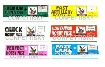 6 x 20 feet hobby fuse perfect fast slow cannon wick ASSORTMENT PACK - 6 speeds