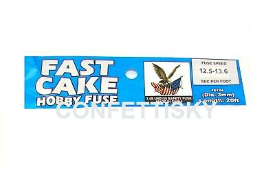 BLUE 3mm hobby fuse wick FAST CAKE 12 seconds per foot