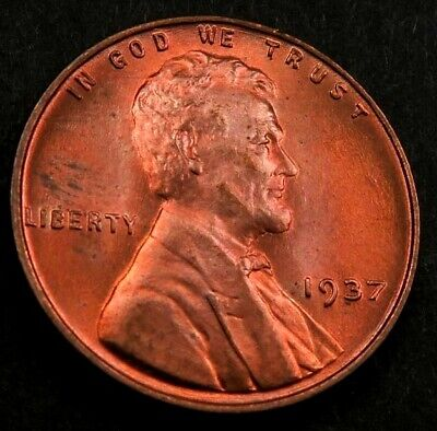 1937 Lincoln Cent Wheat Penny ~ Gem BU *red* ~ Better Date ~ #910