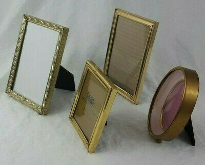 Lot of 4 Vintage Metal Picture Frames Two 5x7, One 3.5x5, One 2.5x3.5 Oval