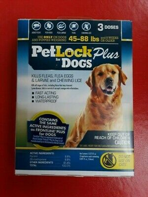 Petlock Plus For Dogs ( 3 Doses ) Frontline 45-88 Lbs Exp 10/2021