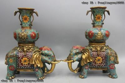 Tibetan Bronze Cloisonne Elephant Eight Treasures RUYi Zun Flower Pot Vase Pair