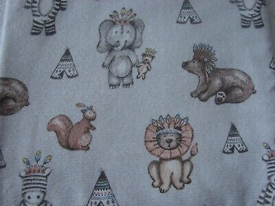Flannelette Fitted Multi-Coloured Tribal Animals Grey Cot Sheet Handmade