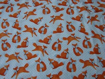 Flannelette Blue Fitted  Foxes Cot Sheet Handmade