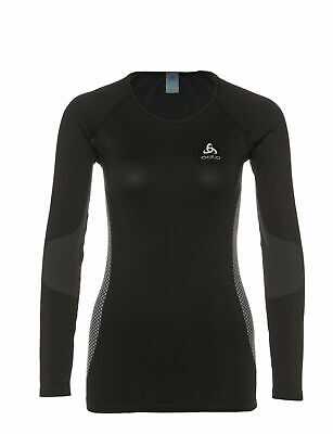 Odlo Damen Shirt Crew Seamless Warm Funktionsunterwäsche black concrete grey S