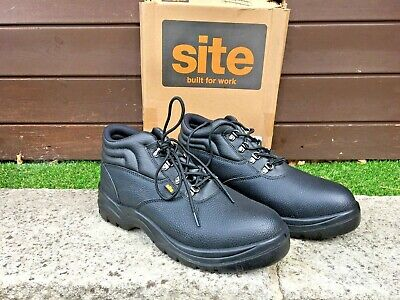 e3252d7deec8 New Site Slate Chukka Black Leather Safety Boots Steel Toe S1P - Uk 12 / Eu