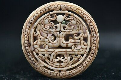 Chinese HongShan culture Old Jade Hand carved Amulet Pendant Y26