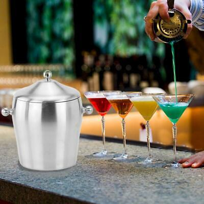 Stainless Steel Ice Bucket Portable Double Layer Champagne Bucket Wine Set