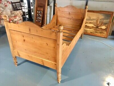 Lovely Antique Late Victorian Stripped Pine Small Single Bed