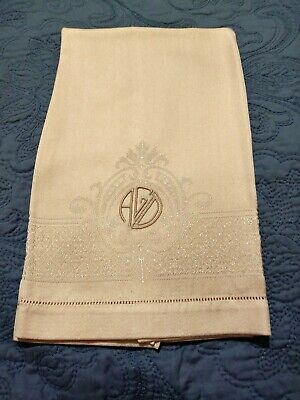 "Peach Damask Polyester Towel 23"" by 15"" Hemstitched Embroidered Initials ""AGD"""