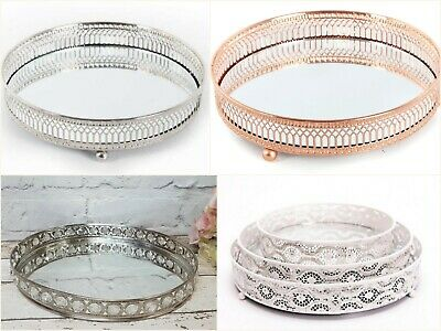 Mirror Glass Metal Antique Decorative Silver or Copper Candle Plate Display Tray