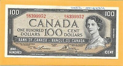1954 Canadian 100 Dollar Bill B/J8399952 (Circulated)