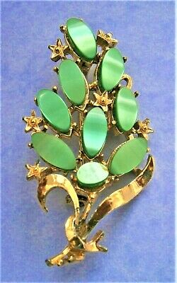 Nc810*) Vintage Gold Tone Green Satin Glass Floral Bouquet Posy Brooch