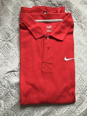 NIKE MATCHUP RED Polo Shirt Size Large L Short Sleeve EUR