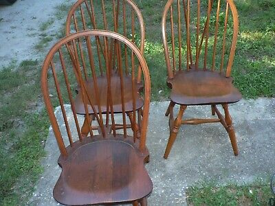 3 Antique Vintage Cushman Windsor Chairs Arts & Crafts Set of 3 Bennington, VT