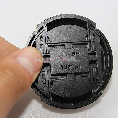 52mm Center Pinch Snap on Front Cap Cover For Sony Canon Nikon Lens Filter S fn