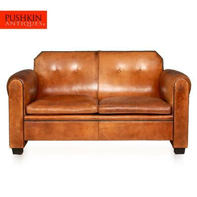 ELEGANT 20thC DUTCH TWO SEATER TAN LEATHER SOFA