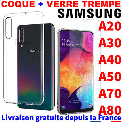 Samsung Galaxy A50 A40 A70 A80 Coque Verre Trempe Etui Housse Protection Case