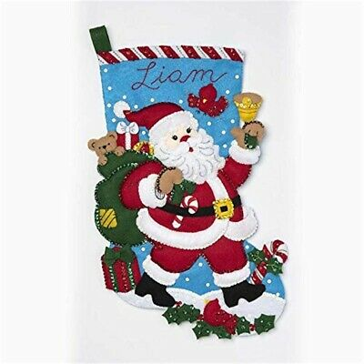 "Bucilla Felt Stocking Applique Kit 18"" Long-santa Bell Ringer"