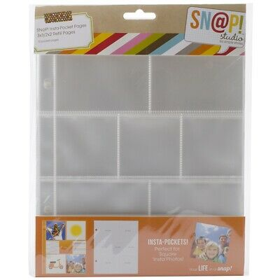 """Sn@p! Insta Pocket Pages For 6""""x8"""" Binders 10/pkg-(3) 2""""x2"""" & (4) 3""""x3"""" Pockets"""