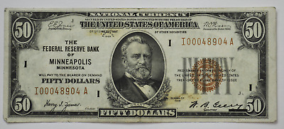 1929 $50 Federal Reserve Bank Note NC I00048904A Minneapolis MN FR#1880