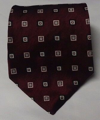 Tie Mens 100 Pure Silk Red Geometric Mens EUC Necktie Long Fathers Day