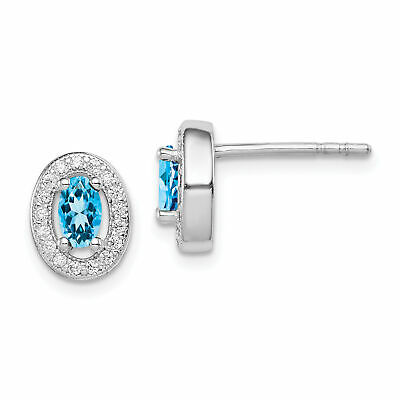 Sterling Silver Blue and White CZ Oval Stud Earrings 9x8 mm 1.69gr