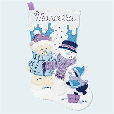 "Bucilla Hallmark Felt Applique Stocking Kit 18"" Long-wintry Wonderland"