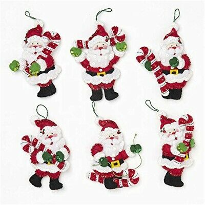 "Bucilla Felt Ornaments Applique Kit 3.5""x5"" Set Of 6-candy Cane Santa"