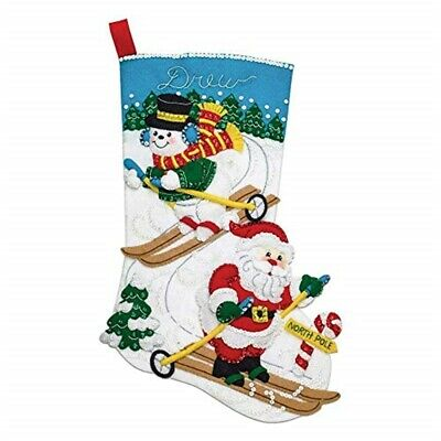 "Bucilla Felt Stocking Applique Kit 18"" Long-downhill Skiers"