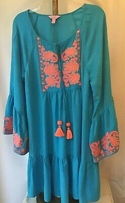 fbf612755f1 Lilly Pulitzer AMISA Tunic Dress Sparkling Blue Bell Sleeves $198 Size L