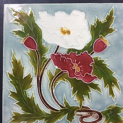 """c1903 Art Nouveau Tube Lined CLEVELAND flower Tile 6"""" Three Of Four Listed"""