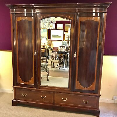 Late Victorian Mahogany Inlaid Triple Wardrobe