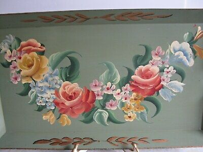 Gorgeous Vintage Italian Metal Floral Tole Tray Roses