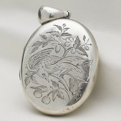Antique Victorian Sterling Silver Aesthetic Bird Fruit Double Sided Large Locket