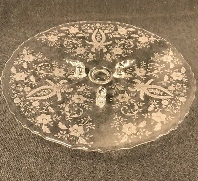PV03643 Clear New Martinsville Viking PRELUDE Footed Cake Plate