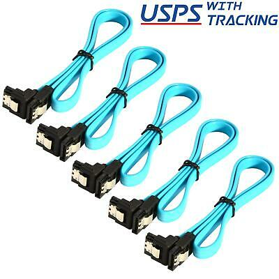 "5x 18"" SATA 3.0 Cable SATA3 III 6GB/s Right Angle SSD HDD Hard Drive, Blue"