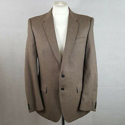 Hardy Amies Mens Suit Blazer Jacket And Trousers Brown Mix Chest 40 W32 Wool